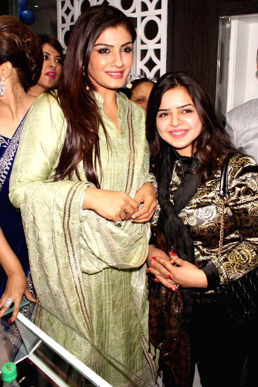 Bollywood actress Raveena Tandon at the inauguration of a showroom at Rajouri Garden, in New Delhi on Jan 30, 2015.