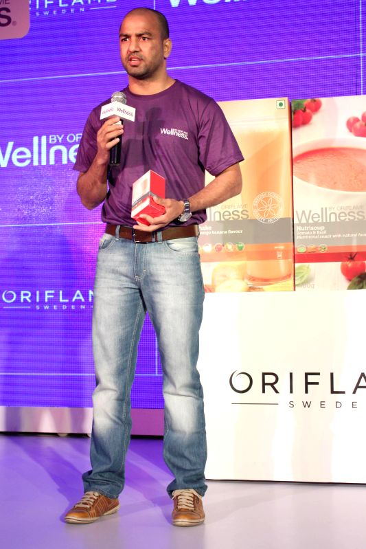 Boxer Akhil Kumar during the launch of Oriflame`s three supplements of wellness segment, in New Delhi on Feb. 3, 2015.