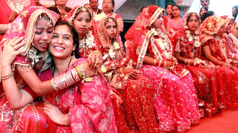 Brides at a mass marriage programme organised in New Delhi on Feb 20, 2015.