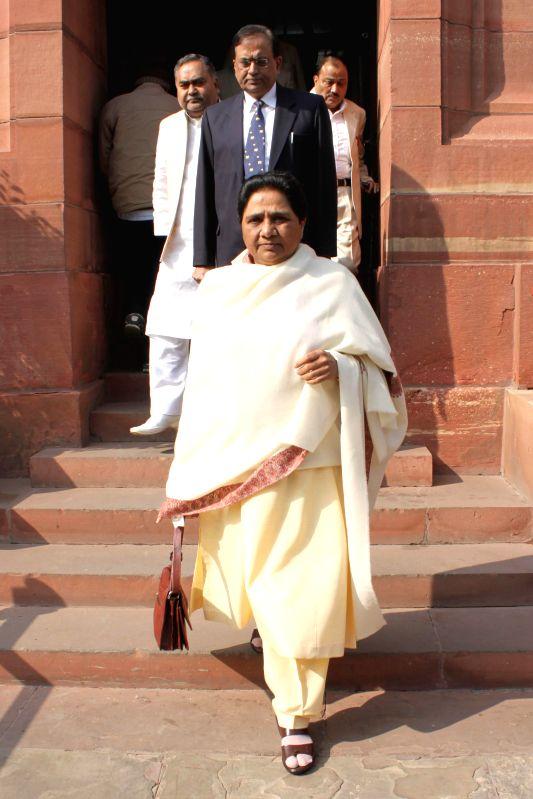 BSP chief Mayawati at the Parliament premises in New Delhi, on Dec 16, 2014.