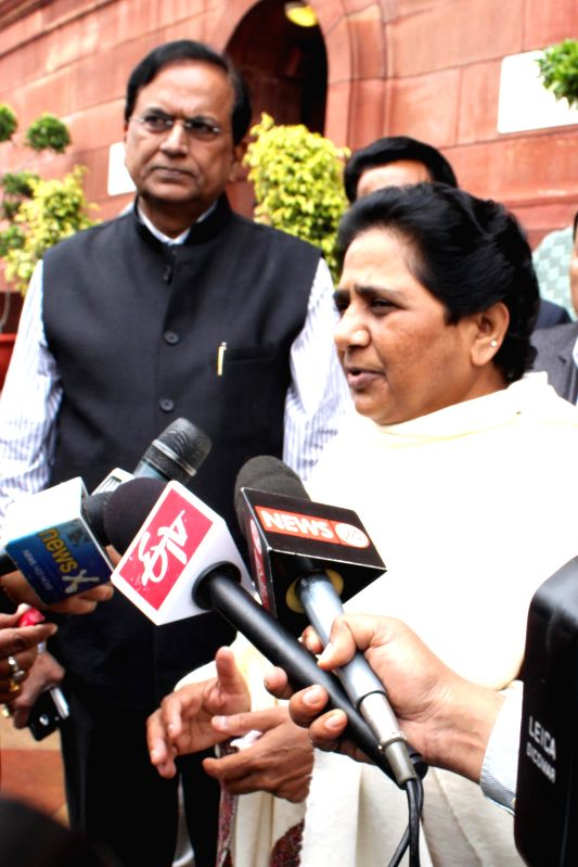 BSP chief Mayawati at the Parliament in New Delhi, on March 2, 2015.  ​