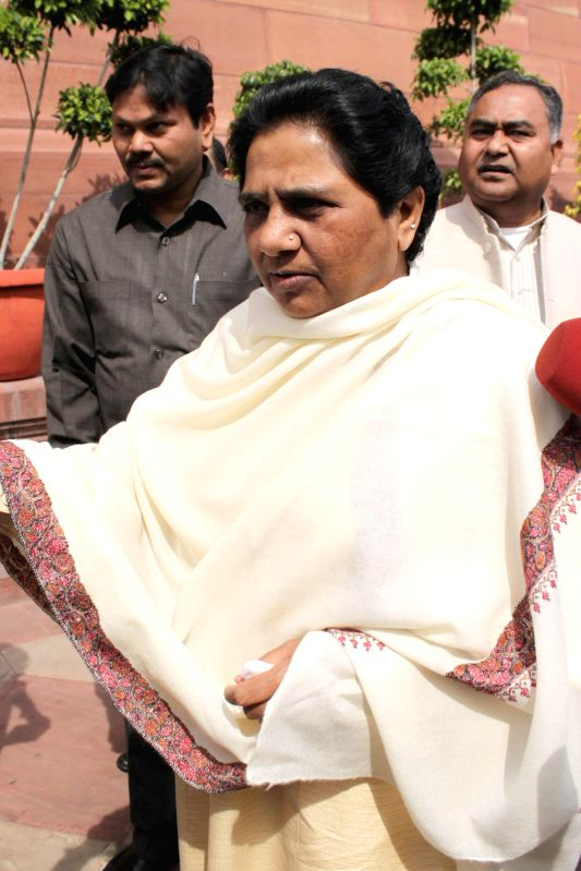 BSP chief Mayawati at the Parliament in New Delhi, on March 11, 2015.