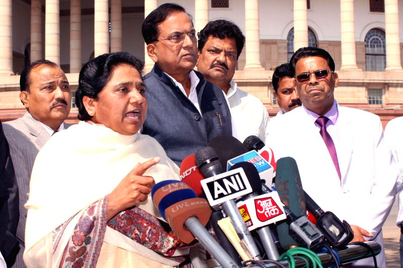 BSP chief Mayawati at the Parliament in New Delhi, on March 17, 2015.