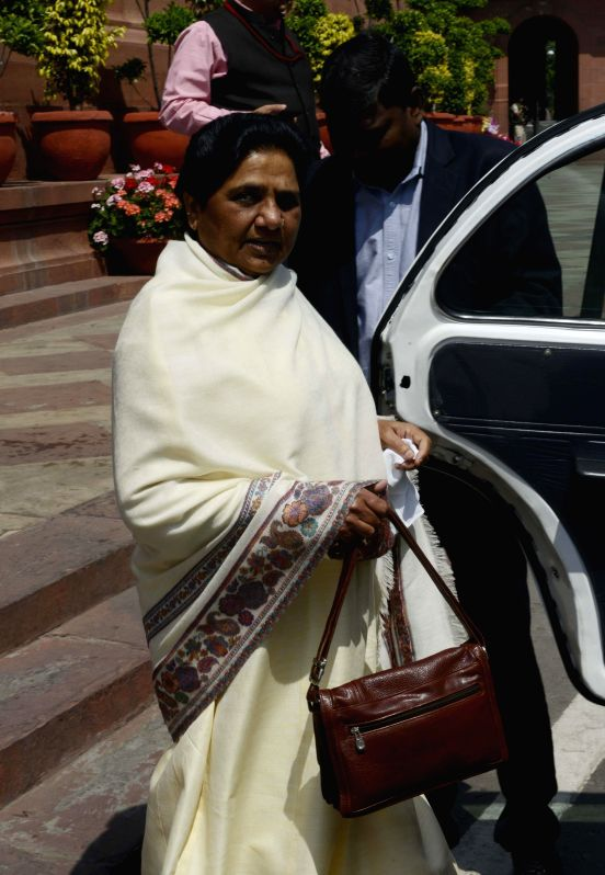 BSP chief Mayawati at the Parliament in New Delhi on March 19, 2015.
