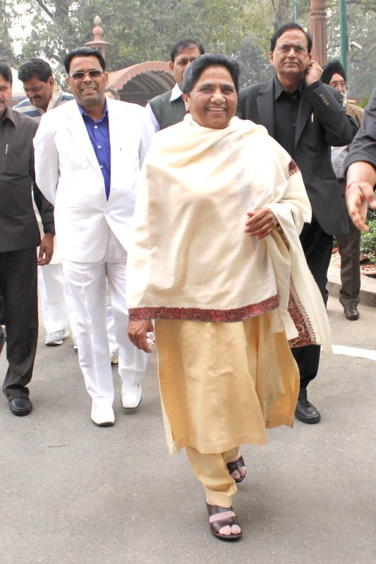 BSP chief Mayawati at the Parliament on the second day of the budget session in New Delhi, on Feb 24, 2015.