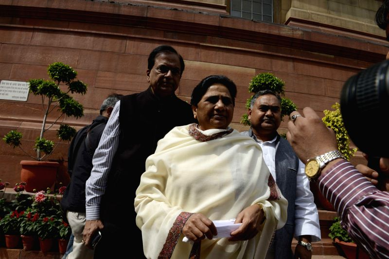 BSP chief Mayawati talks to press regarding the national budget 2015-16 in New Delhi, on Feb 28, 2015.