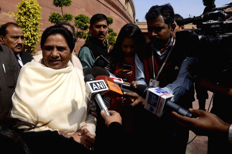 BSP chief Mayawati talks to press at the Parliament in New Delhi, on March 11, 2015.