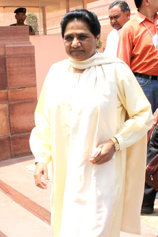 BSP supremo Mayawati at the Parliament in New Delhi, on April 28, 2015.