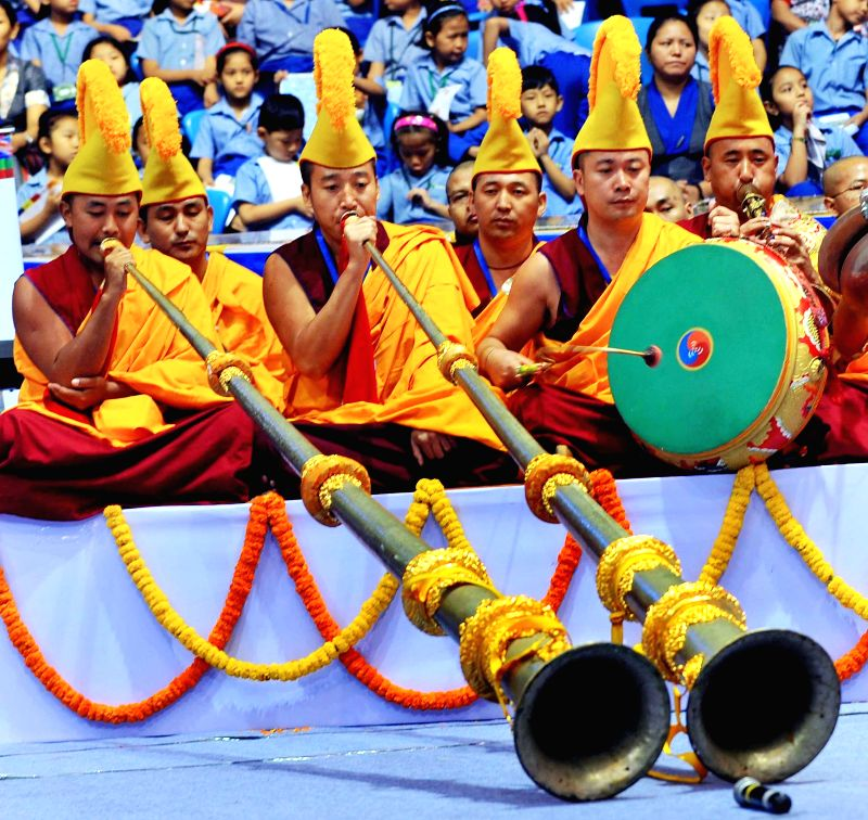 Buddha Purnima celebrations underway at the Talkatora Stadium in New Delhi, on May 4, 2015.
