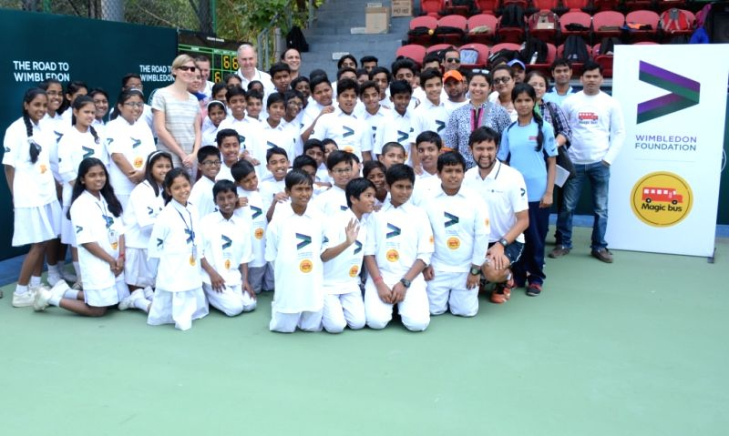 Budding tennis player during the launch of an joint initiative for Delhi`s poorest children by Wimbledon Foundation and Magic Bus, in New Delhi on April 7, 2015.