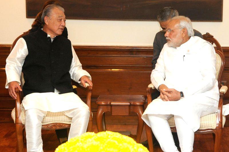 Chairman of the Nippon Foundation Yohei Sasakawah calls on Prime Minister Narendra Modi, in New Delhi on Nov 24, 2014.