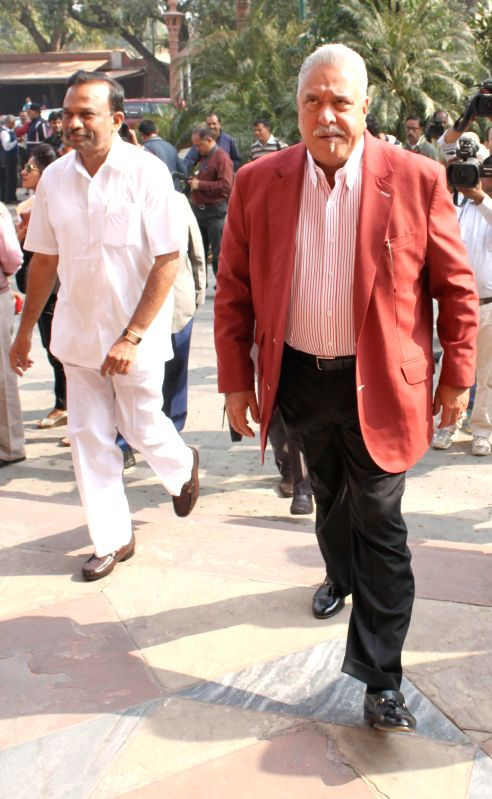 Chairman, UB Group and MP Vijay Mallya at the Parliament premises in New Delhi, on Nov 26, 2014. - Vijay Mallya