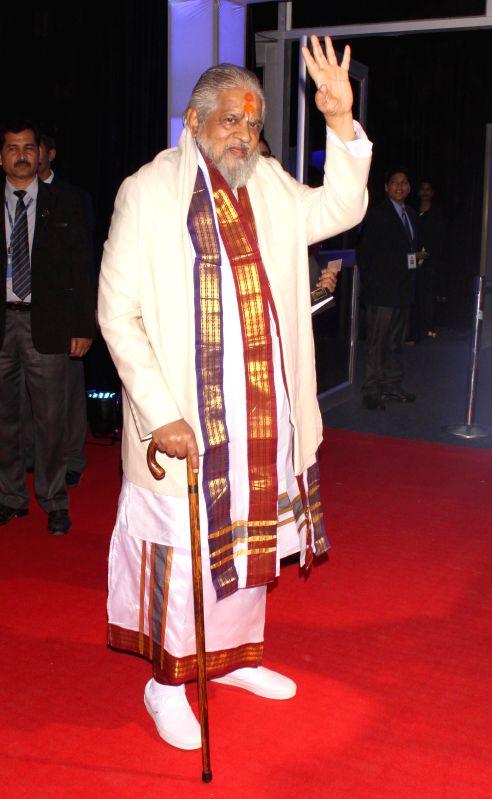 Chandraswami during a programme organised to celebrate 21 years of a `Aap Ki Adalat` a TV show at Pragati Maidan in New Delhi on Dec 2, 2014.