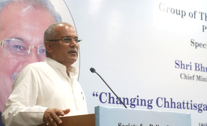 "New Delhi: Chhattisgarh Chief Minister Bhupesh Baghel addresses during a special lecture on ""Changing Chhattisgarh Under New Leadership"" in New Delhi on Aug 18, 2019."