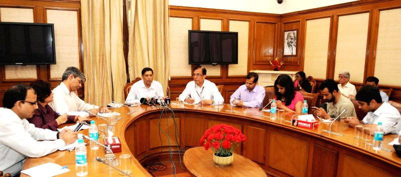 Chief Economic Adviser, Ministry of Finance, Dr. Arvind Subramanian briefs the media persons, in New Delhi on April 9, 2015.