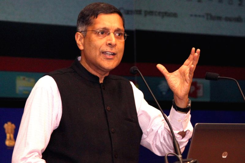 Chief Economic Advisor of Finance Ministry Dr. Arvind Subramanian addresses a press conference regarding the Economic Survey  in New Delhi, on Feb 27, 2015.