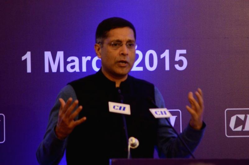 Chief Economic Advisor of the Union Finance Ministry Dr. Arvind Subramanian addresses at the National Council meeting of the CII in New Delhi, on March 1, 2015.