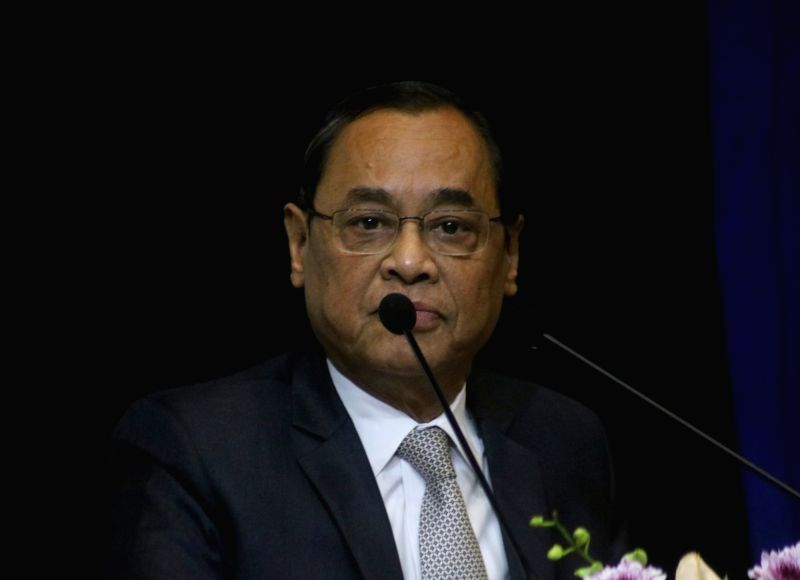 """New Delhi: Chief Justice of India (CJI) Ranjan Gogoi addresses at the launch of the book """"Law, Justice and Judicial Power: Justice P.N. Bhagwati's Approach"""" in New Delhi, on Feb 8, 2019."""