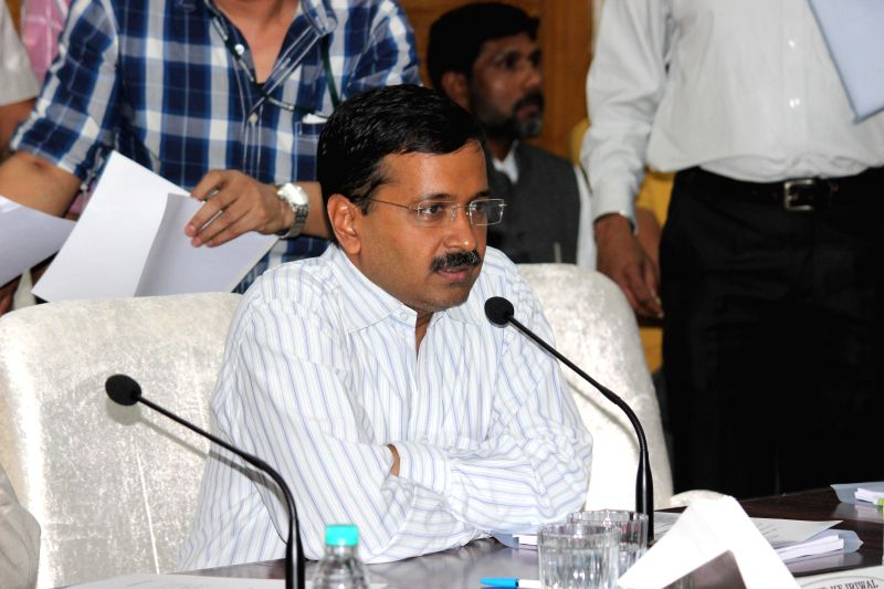 New Delhi Chief Minister Arvind Kejriwal during a meeting at NDMC in New Delhi, on March 20, 2015.