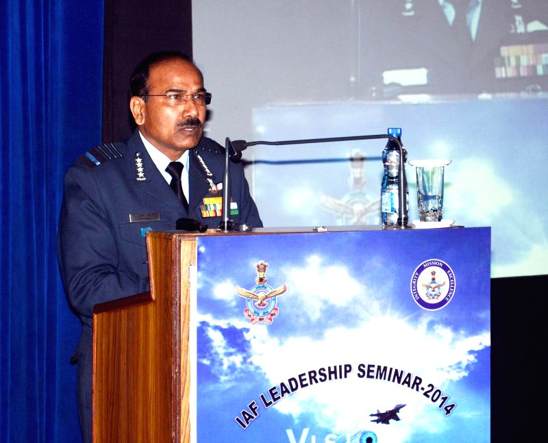 Chief of the Air Staff, Air Chief Marshal Arup Raha delivering his inaugural address at the Indian Air Force Leadership Seminar - 2014, at Air Force Auditorium, in New Delhi  on Dec 18, ...