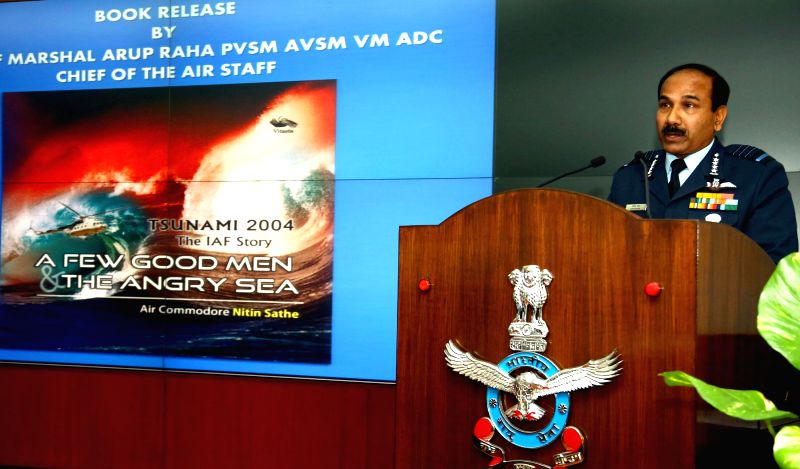 Chief of the Air Staff, Air Chief Marshal Arup Raha addresses at the release of a book titled `A Few Good Men and the Angry Sea` written by Air Commodore Nitin Sathe, in New Delhi, on Dec .