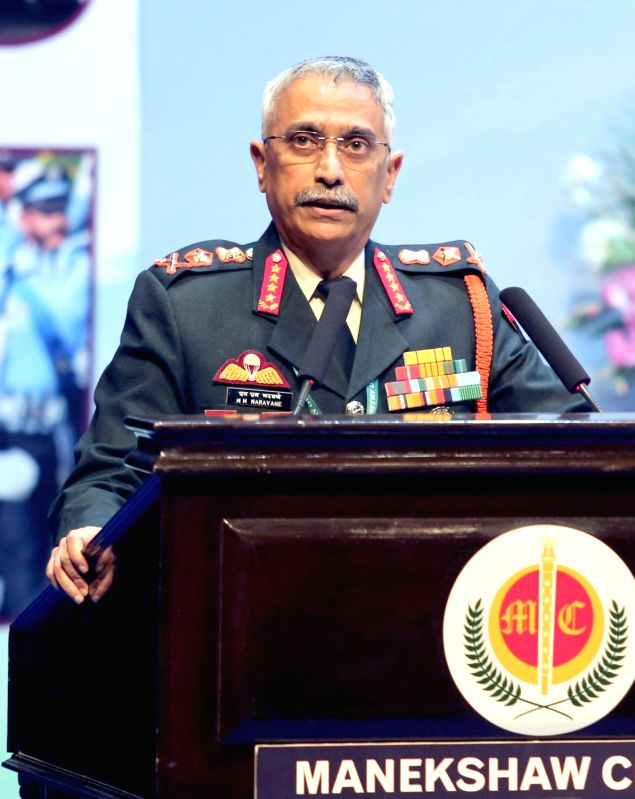 New Delhi: Chief of the Army Staff General Manoj Mukund Naravane addresses at a programme organised to mark Armed Forces Veterans' Day, in New Delhi on Jan 14, 2020. (Photo: IANS/PIB)