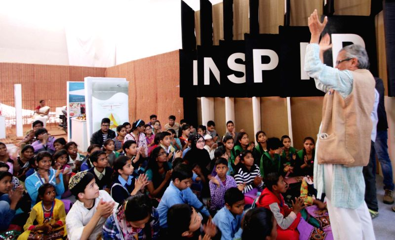 Children at the venue of Innovation Exhibition at Rashtrapati Bhavan, in New Delhi on March 9, 2015.