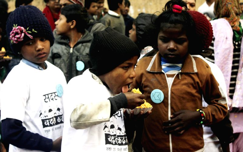Children during a demonstration for Right to Education at Jantar Mantar in New Delhi on Feb. 2, 2015.