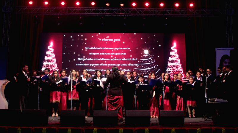 Children's choir singing christmas carols during a programme `Gloria in Excelsis 2014` organised by Mar Thoma Syrian Church of Malabar of Delhi at Jawaharlal Nehru Stadium in New Delhi on .