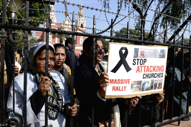 Christians protest against attack on churches in New Delhi on Feb. 5, 2015.