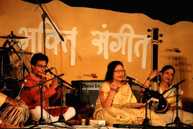 Classical singer Sumitra Guha performs during the `Bhakti Sangeet Festival 2015` in New Delhi on April 26, 2015.