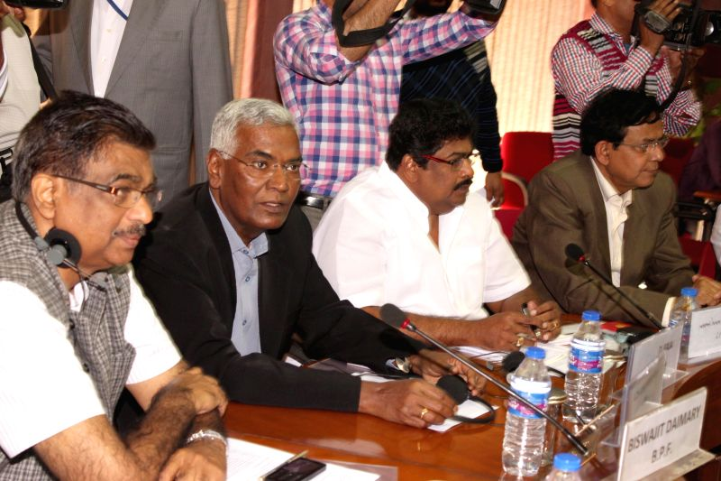 Communist Party of India (CPI) leader D. Raja and representatives of other political party at an all party meeting in New Delhi on Feb 22, 2015.