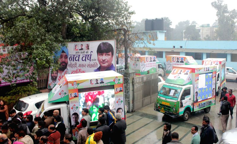 Congress launches a fleet of campaign vehicles fitted with large digital displays ahead of Delhi assembly Polls in New Delhi, on Jan 22, 2015.