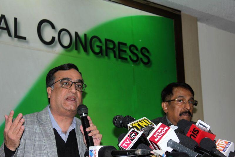 Congress leader Ajay Maken addresses a press conference in New Delhi, on Dec 1, 2014.