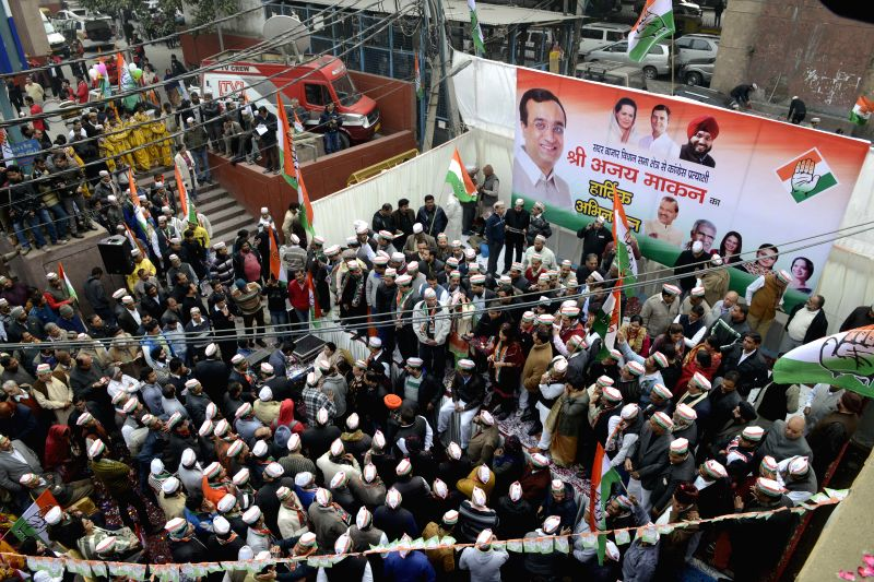 Congress leader Ajay Maken during a roadshow before filing his nomination papers in in New Delhi, on Jan 21, 2015.