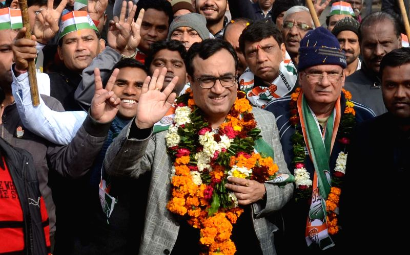 Congress leader Ajay Maken during an election campaign in Kishan Ganj area of Old Delhi on Jan 25, 2015.