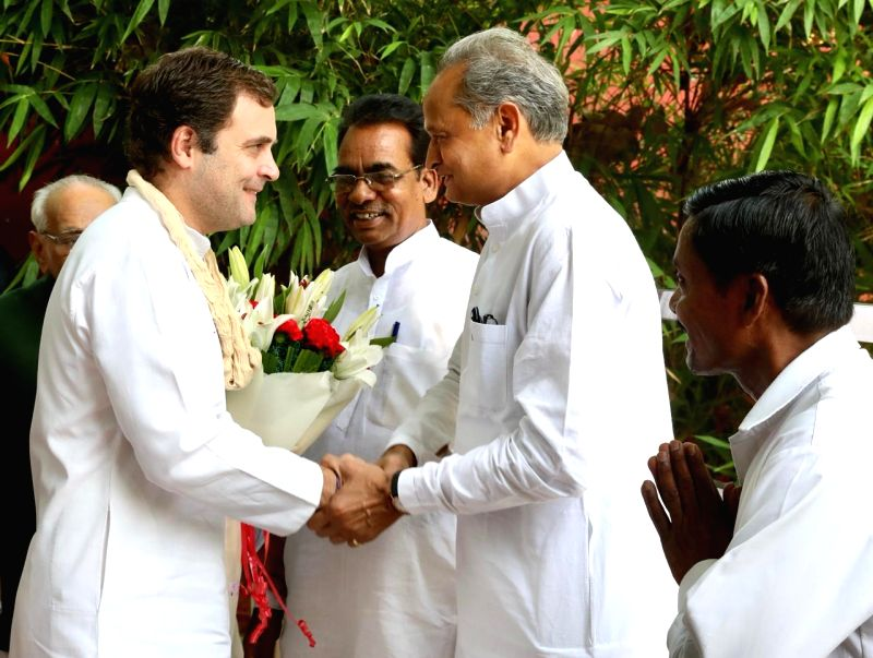 New Delhi: Congress leader Ashok Gehlot wishes party's President Rahul Gandhi on his birthday, in New Delhi, on June 19, 2019.