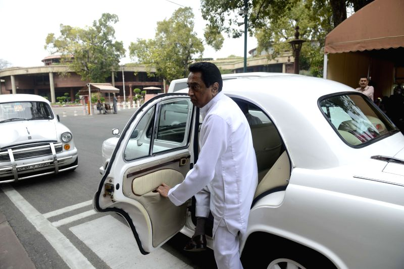 Congress leader Kamal Nath arrives at the Parliament in New Delhi on March 13, 2015. - Kamal Nath