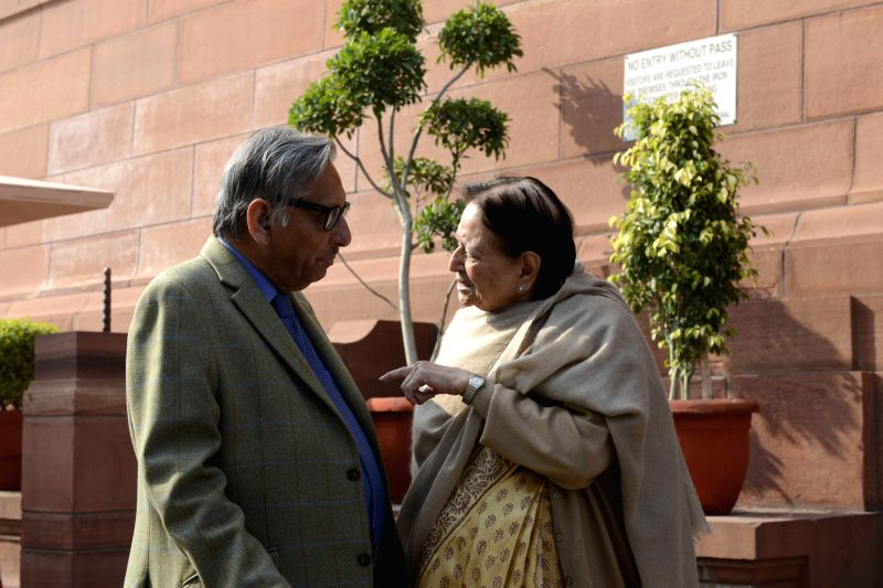 Congress leader Mani Shankar Aiyar at the Parliament premises in New Delhi, on Dec 17, 2014.