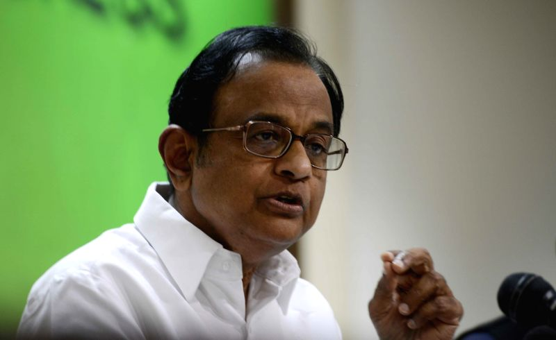 Congress leader P. Chidambaram addresses a press conference regarding the 2015-16 national budget in New Delhi, on Feb 28, 2015.