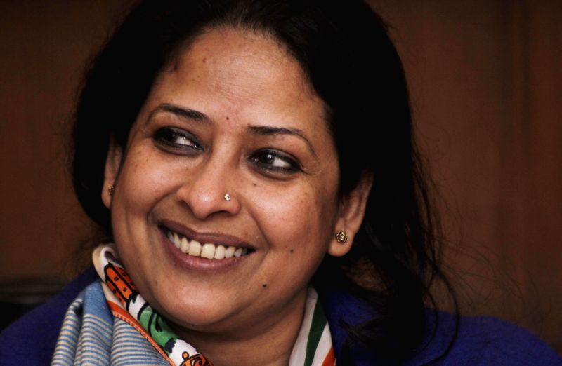 Congress leader Sharmistha Mukherjee meets voters in Greater Kailash Assembly constituency  in New Delhi, on Jan 23, 2015.
