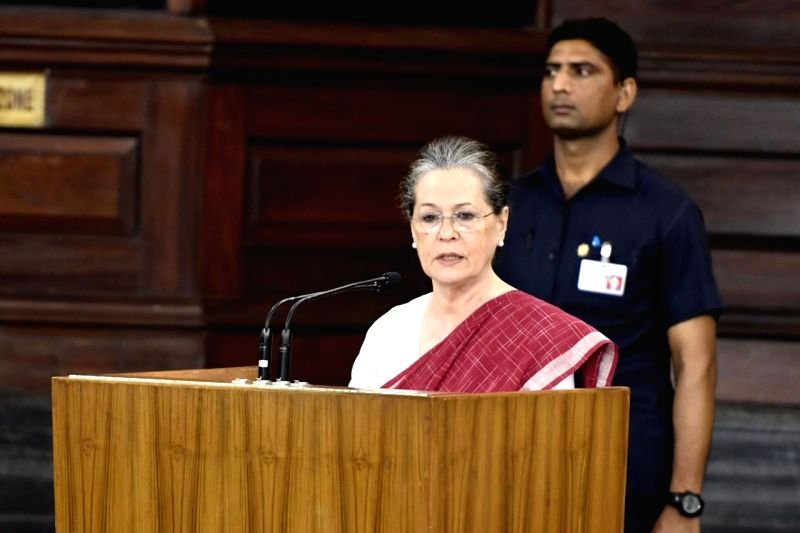 New Delhi: Congress leader Sonia Gandhi addresses during Congress Parliamentary Party (CPP) meeting at Parliament in New Delhi on June 1, 2019.