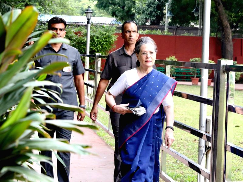 New Delhi: Congress leader Sonia Gandhi arrives to attend Congress Working Committee meeting in New Delhi on Aug 10, 2019.