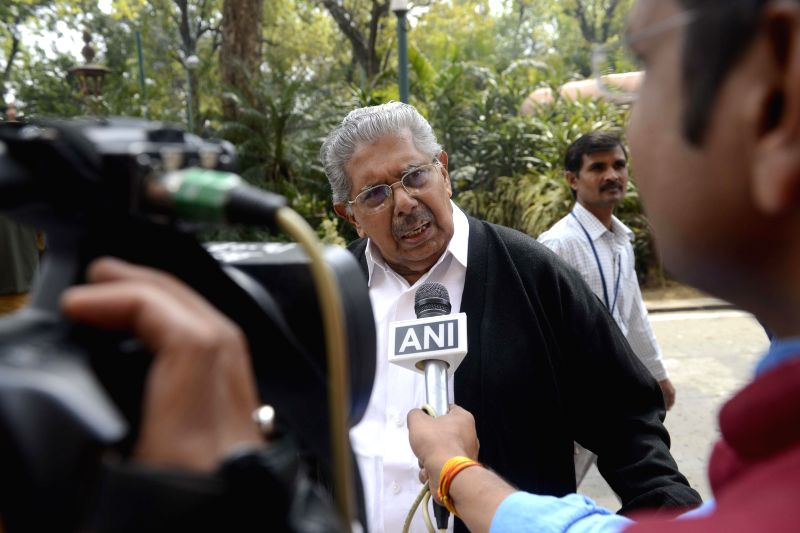 Congress leader Vayalar Ravi talks to press at the Parliament in New Delhi on March 13, 2015.