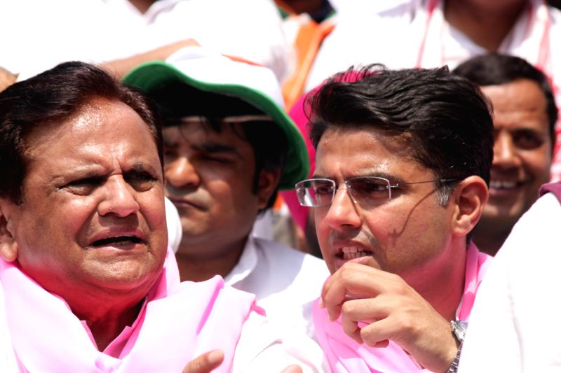 Congress leaders Ahmed Patel and Sachin Pilot during a demonstration against the Land Acquisition Bill at Jantar Mantar in New Delhi, on March 16, 2015. - Ahmed Patel