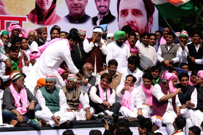 Congress leaders Jairam Ramesh, Ajay Maken, Raj Babbar, Sachin Pilot and others during a demonstration against the Land Acquisition Bill at Jantar Mantar in New Delhi, on March 16, 2015.