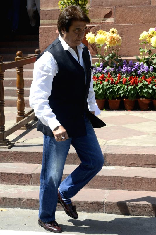 Congress leaders Raj Babbar at the Parliament in New Delhi, on March 20, 2015.