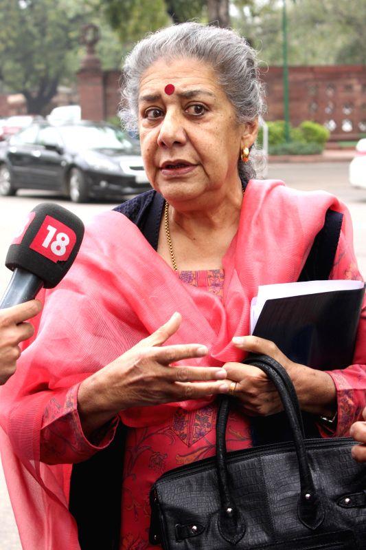 Congress MP Ambika Soni at the Parliament in New Delhi, on March 3, 2015.