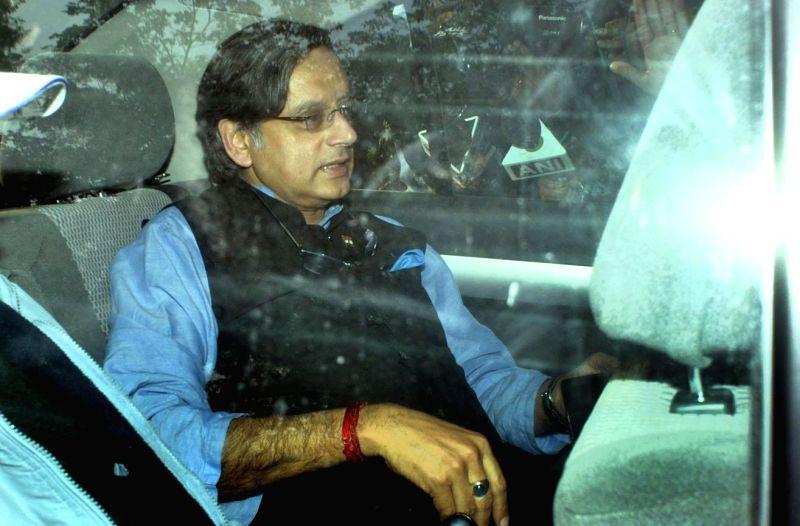 Congress MP from Thiruvananthapuram Shashi Tharoor arrives at his Delhi residence in New Delhi, on Jan 19, 2015.