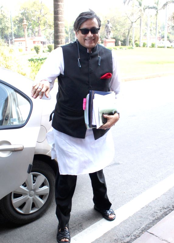 Congress MP from Thiruvananthapuram Shashi Tharoor at the Parliament in New Delhi, on March 16, 2015. - Shashi Tharoor
